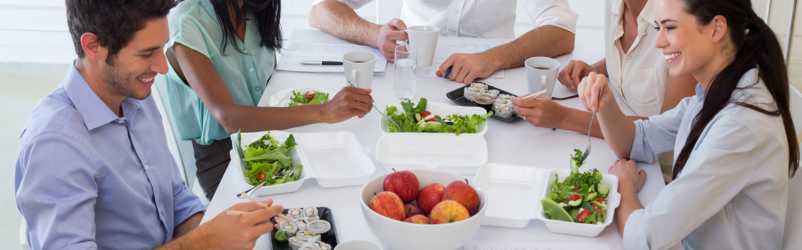 people eating salads in the workplace