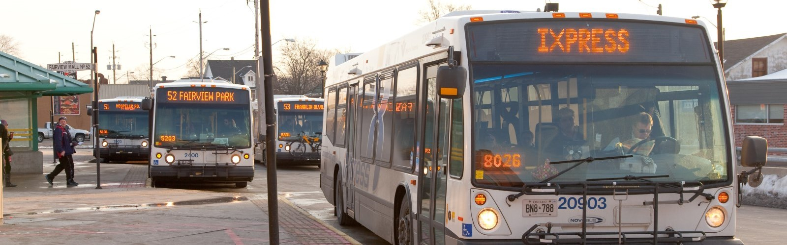 Picture of multiple buses at the terminal