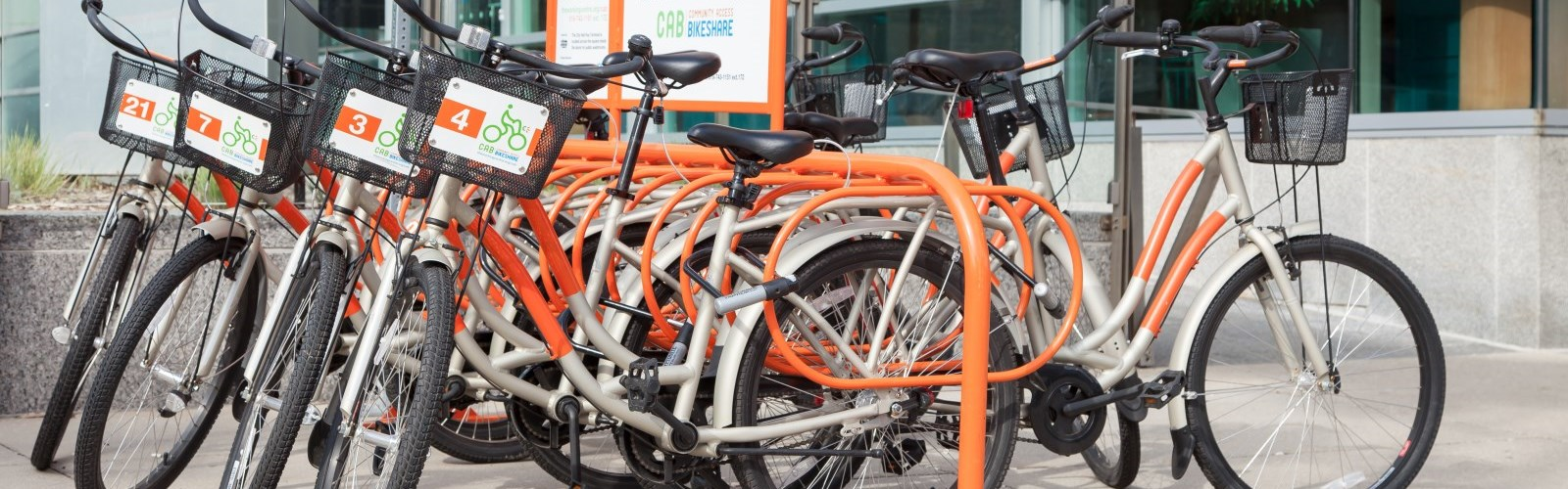 Picture of many bikes in a bike rack