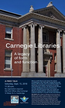 Carnegie Libraries free talk Sept. 15, 2018 at 11:30 a.m. Old Post Office, 12 Water St. South, Cambridge