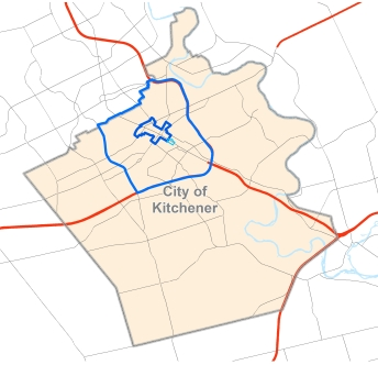 Map of Kitchener and central neighbourhoods.