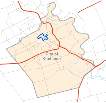 May of Kitchener with downtown highlighted.