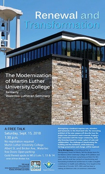 Renewal and Transformation talk, Sept. 15, 2018 at 1:30 p.m. Martin Luther college, Albert St. and Bricker Ave. Waterloo