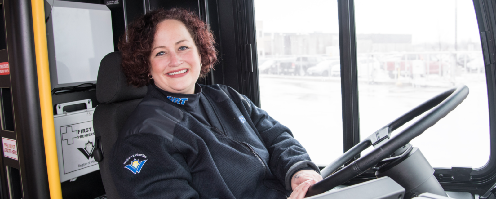 Woman Grand River Transit driver behind the wheel
