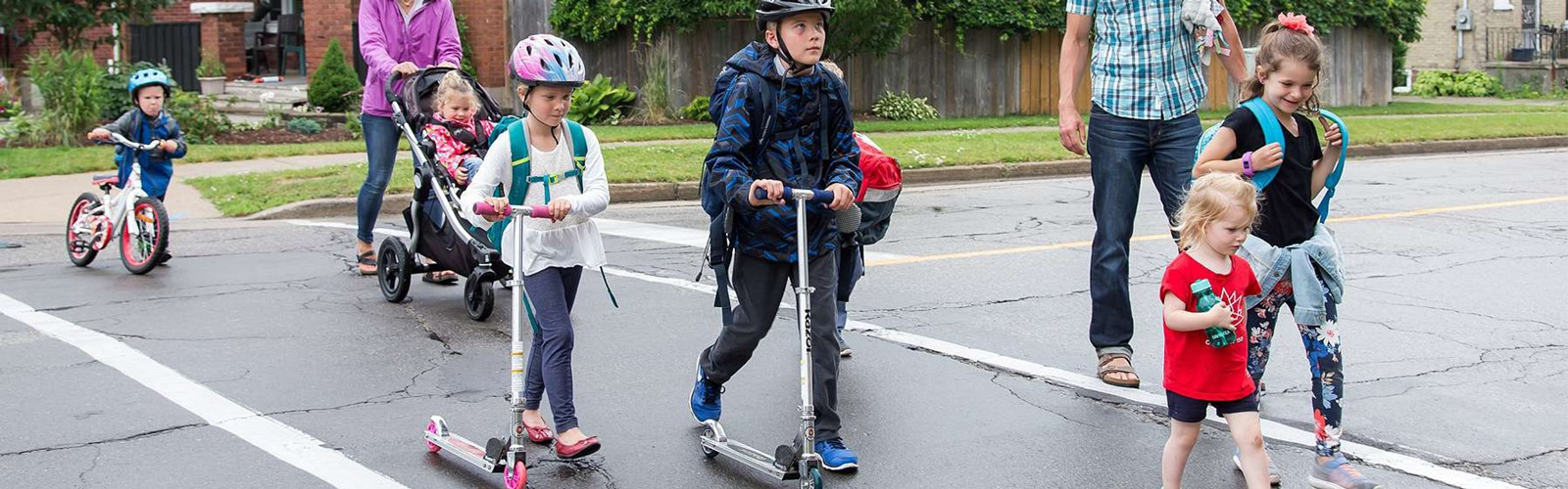 Children and adults walking and cycling to school