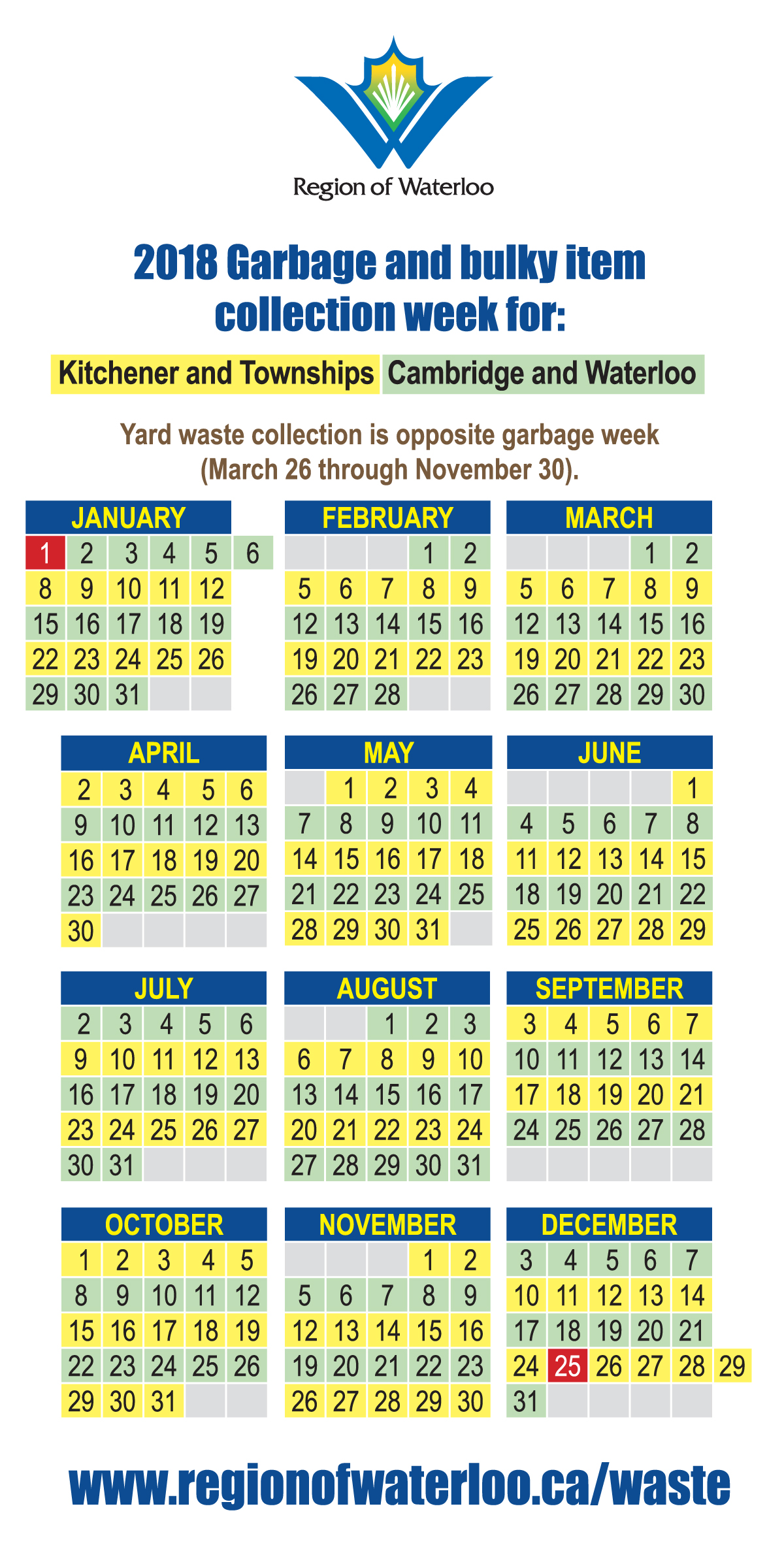 Waste collection calendar 2018