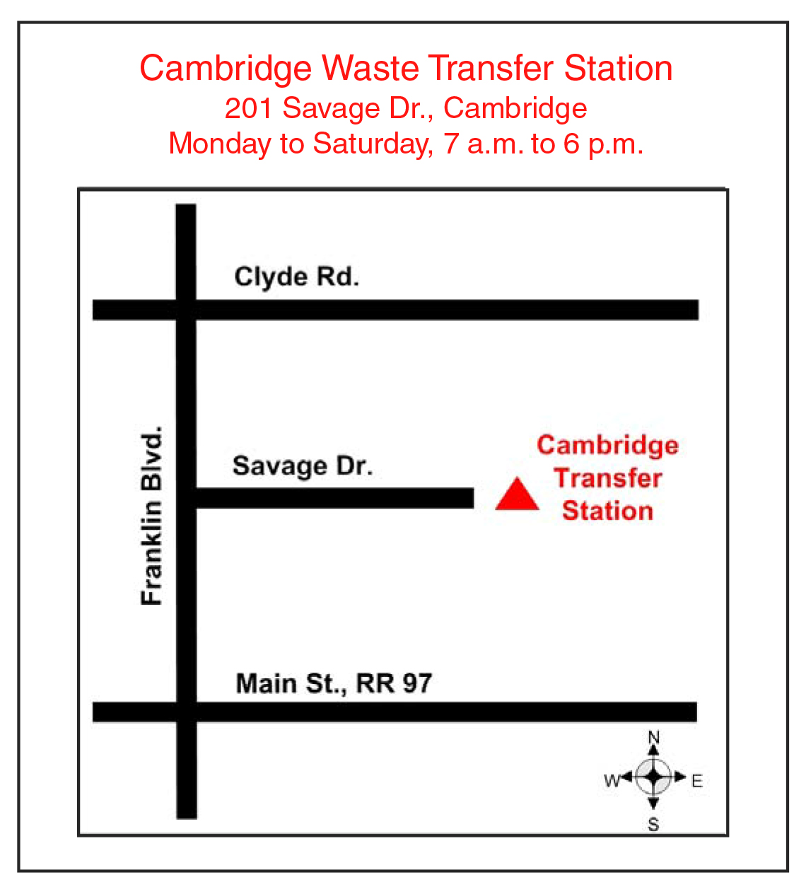 Map of Cambridge landfill site