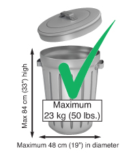 Correct size garbage can