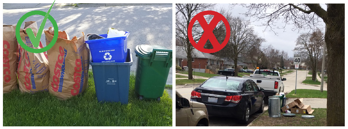 Perfect curbside collection set out and collection items blocked by parked vehicles