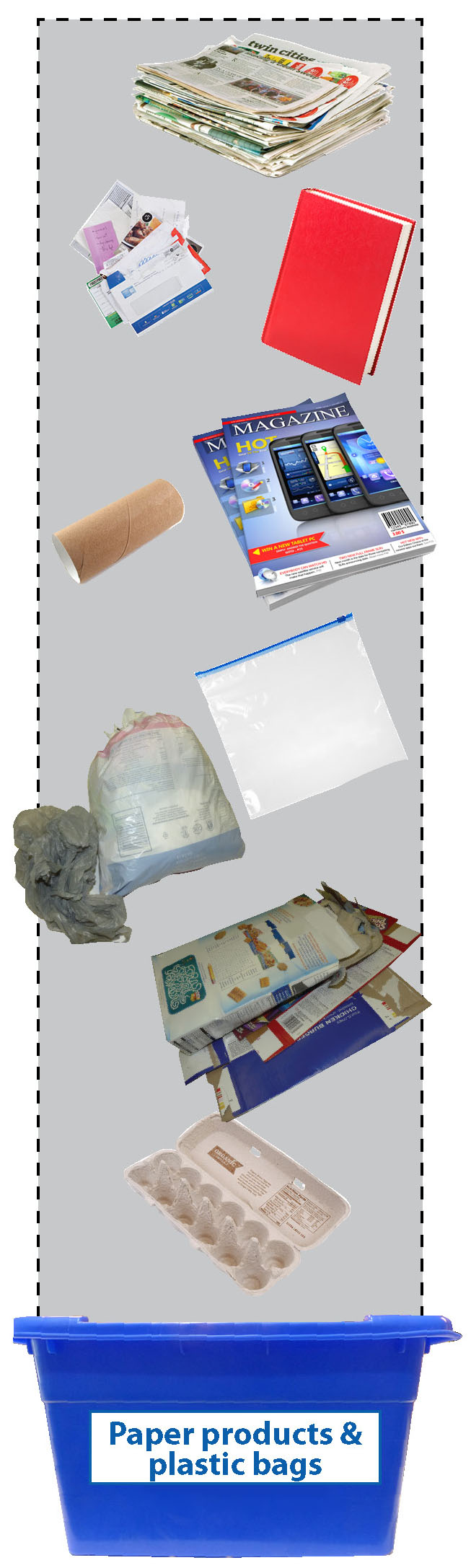 Paper products and plastic bags going into the Paper and plastic bags blue box