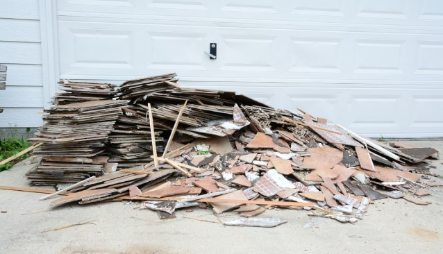 Piles of old floor tiles and renovation waste