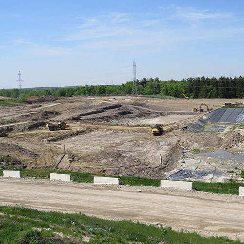 Photo of landfill cell under construction May 2018