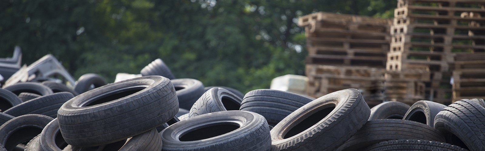 Pile of tires and pallets
