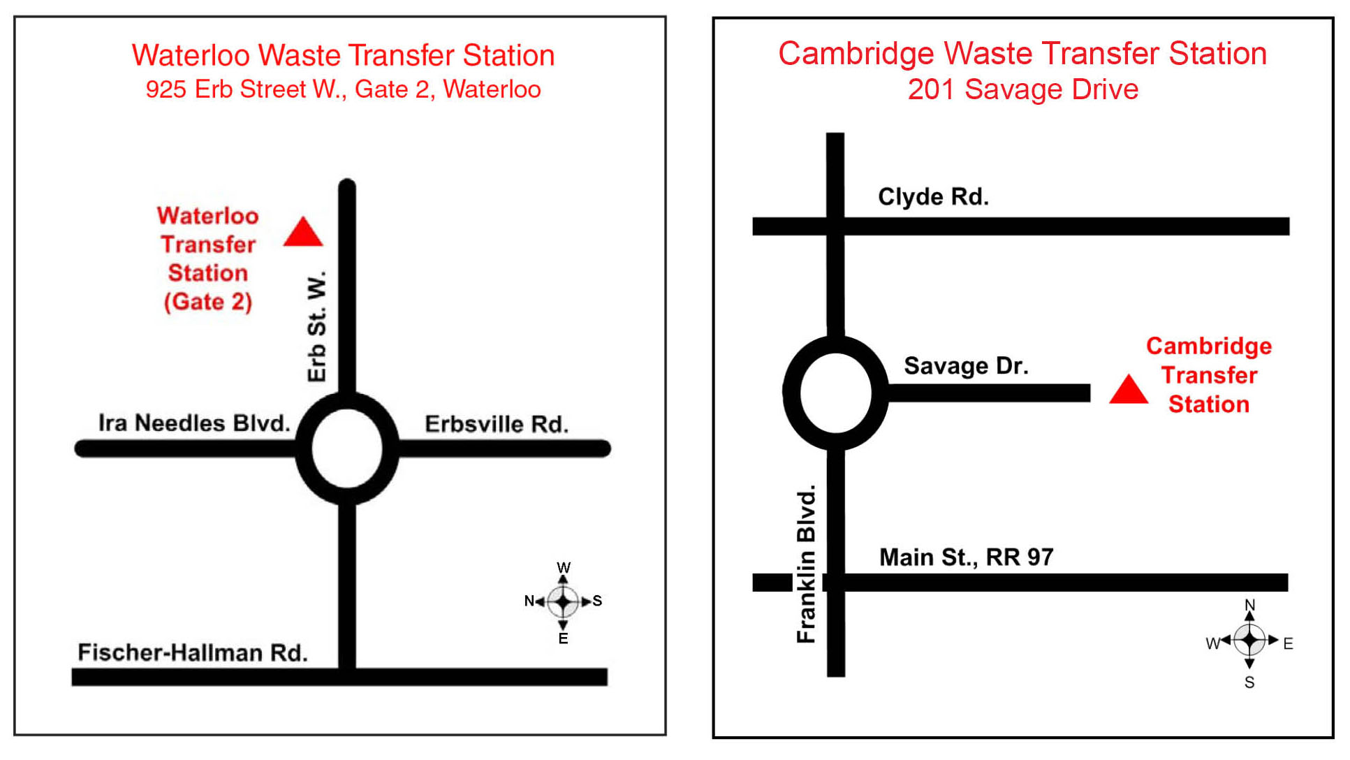 Waterloo and Cambridge landfill site maps