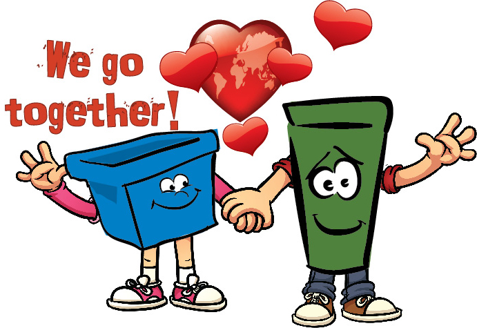 "Blue box and green bin ""We go together"""