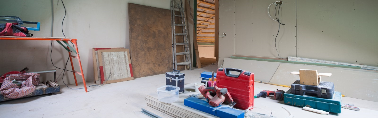 Image of attic being renovated into an in-law suite