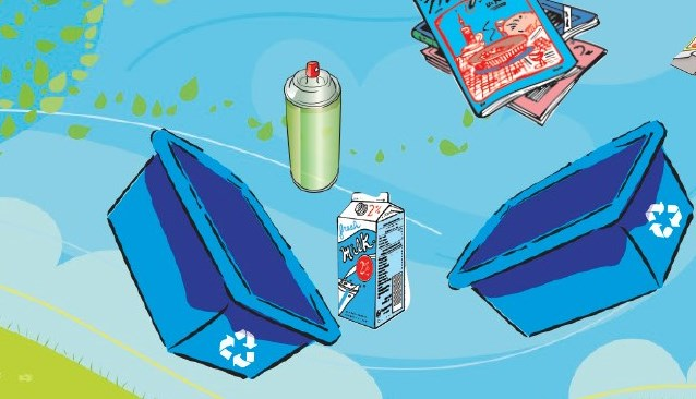 Blue boxes and recyclables blowing away