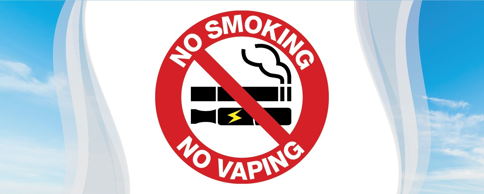No smoking and no vaping image with smoke and clouds.