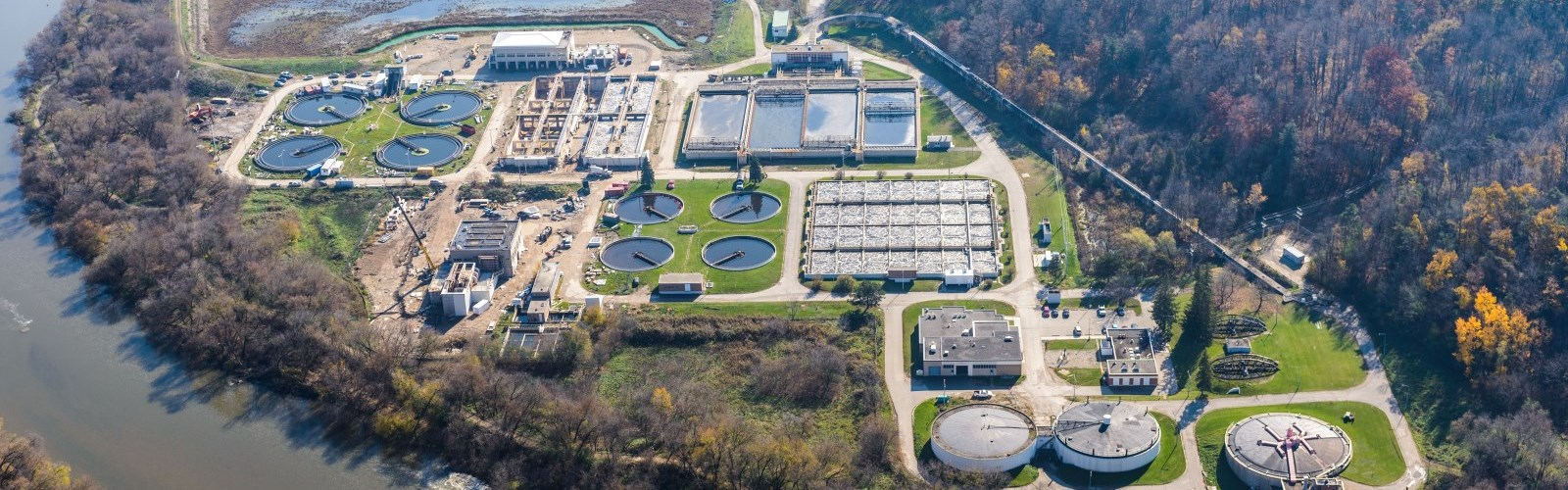 aerial photo of the Kitchener wastewater treatment plant.
