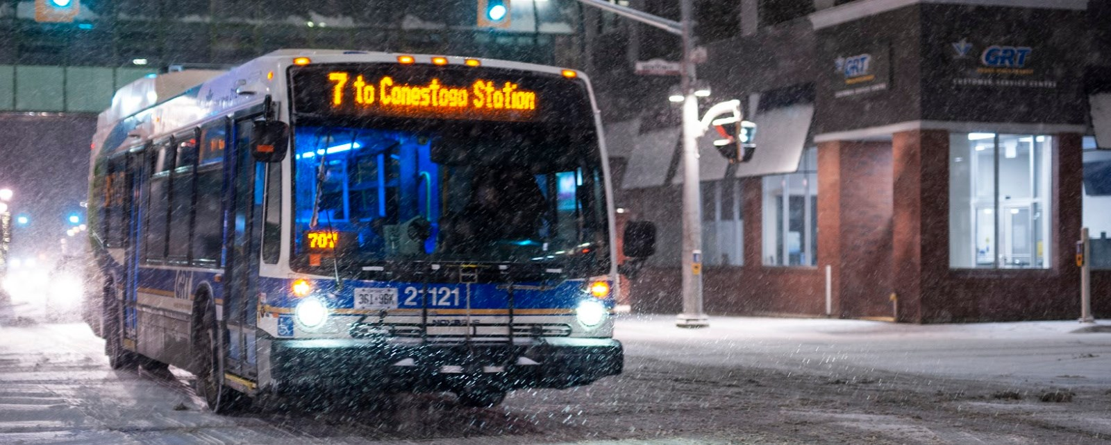 Image of GRT bus at night
