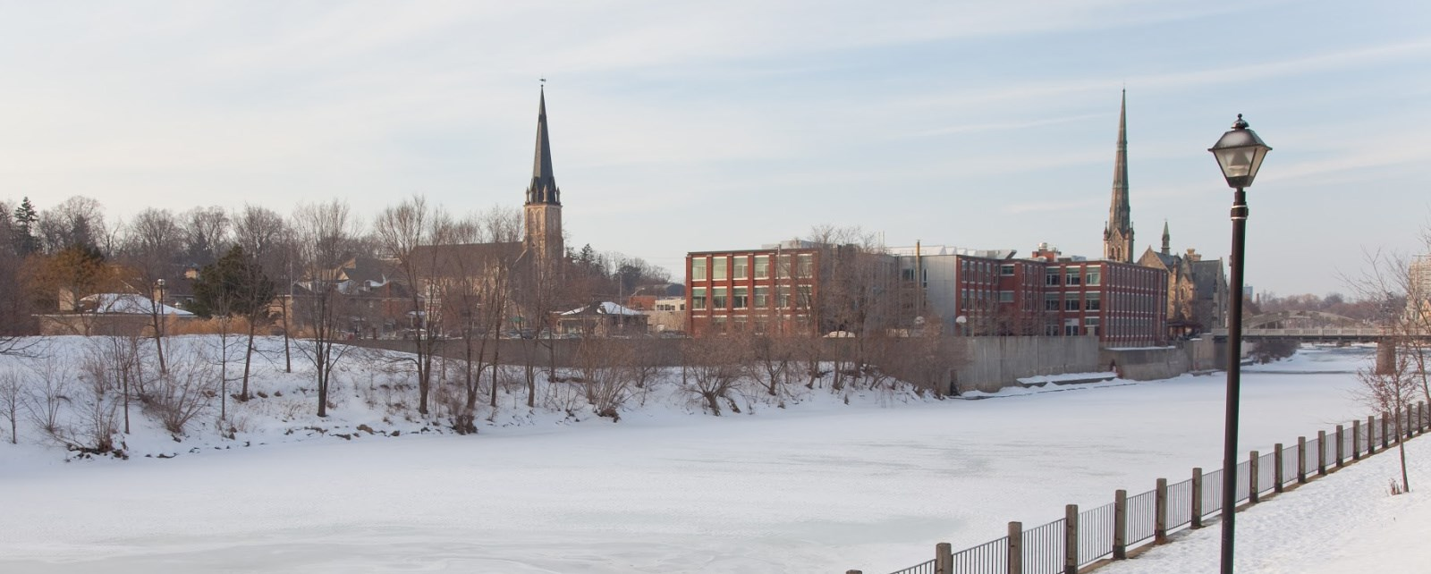 Winter image of the Grand River in Galt